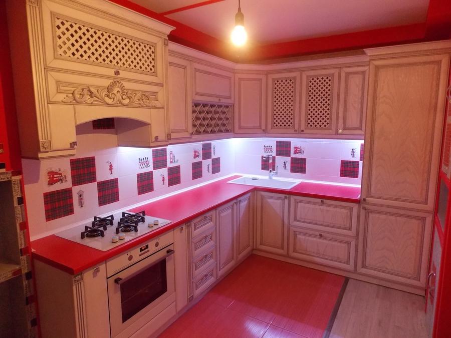 Белый кухонный гарнитур-Кухня из шпона «Модель 13»-фото2