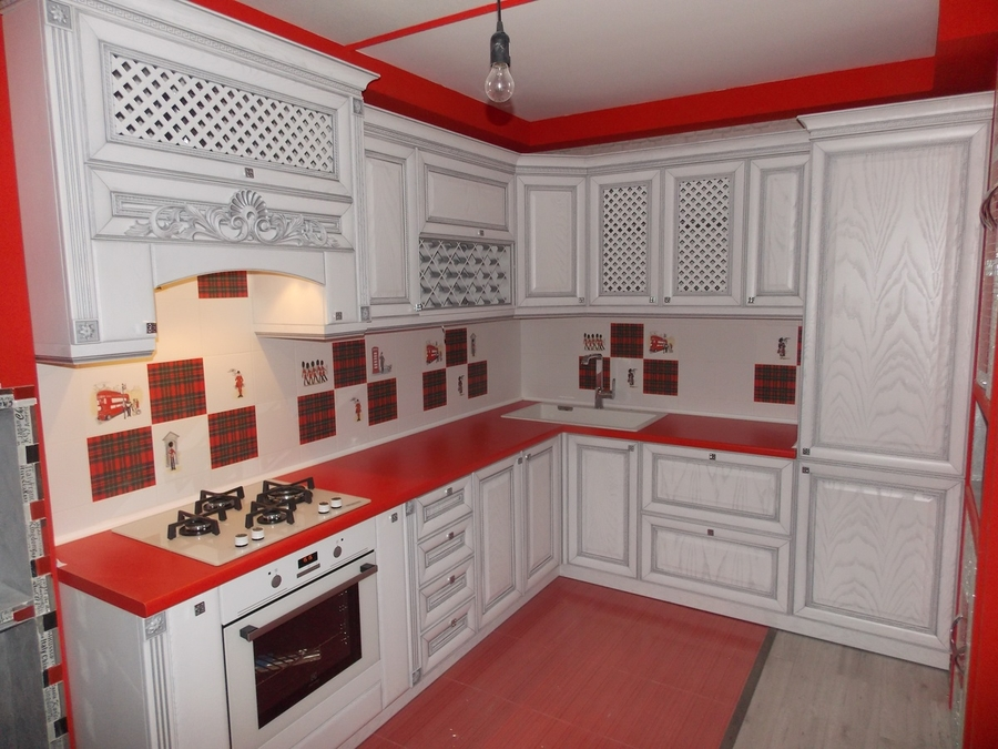 Белый кухонный гарнитур-Кухня из шпона «Модель 13»-фото1