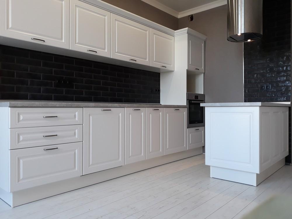 Белый кухонный гарнитур-Кухня МДФ в ПВХ «Модель 280»-фото1