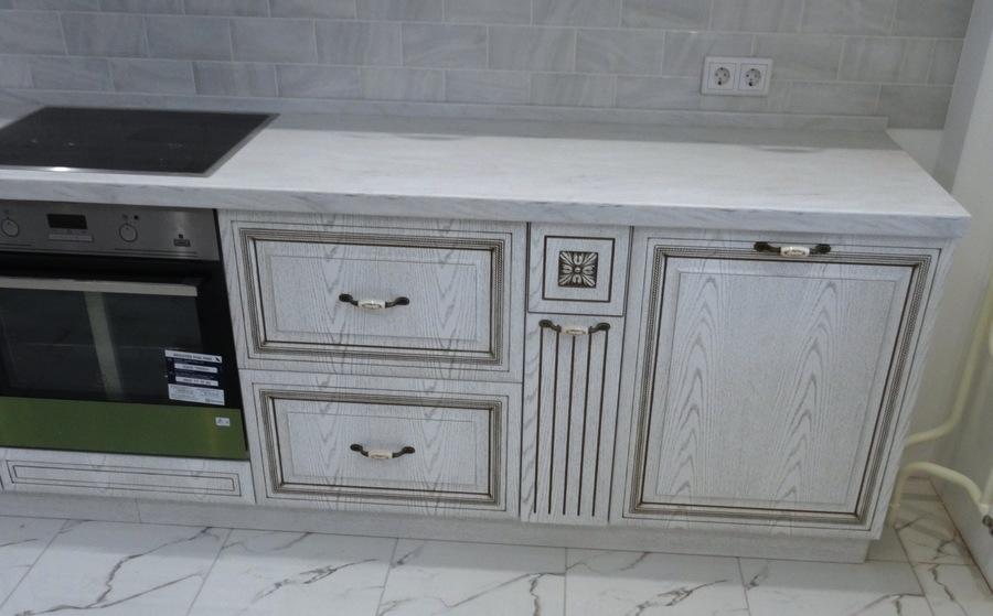 Белый кухонный гарнитур-Кухня МДФ в ПВХ «Модель 515»-фото4