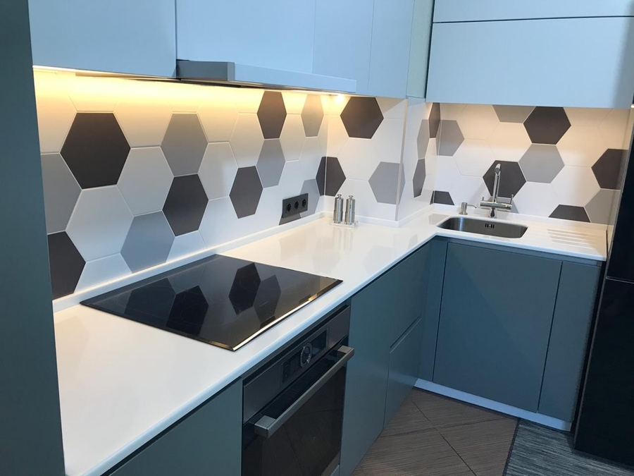 Белый кухонный гарнитур-Кухня МДФ в эмали «Модель 445»-фото4