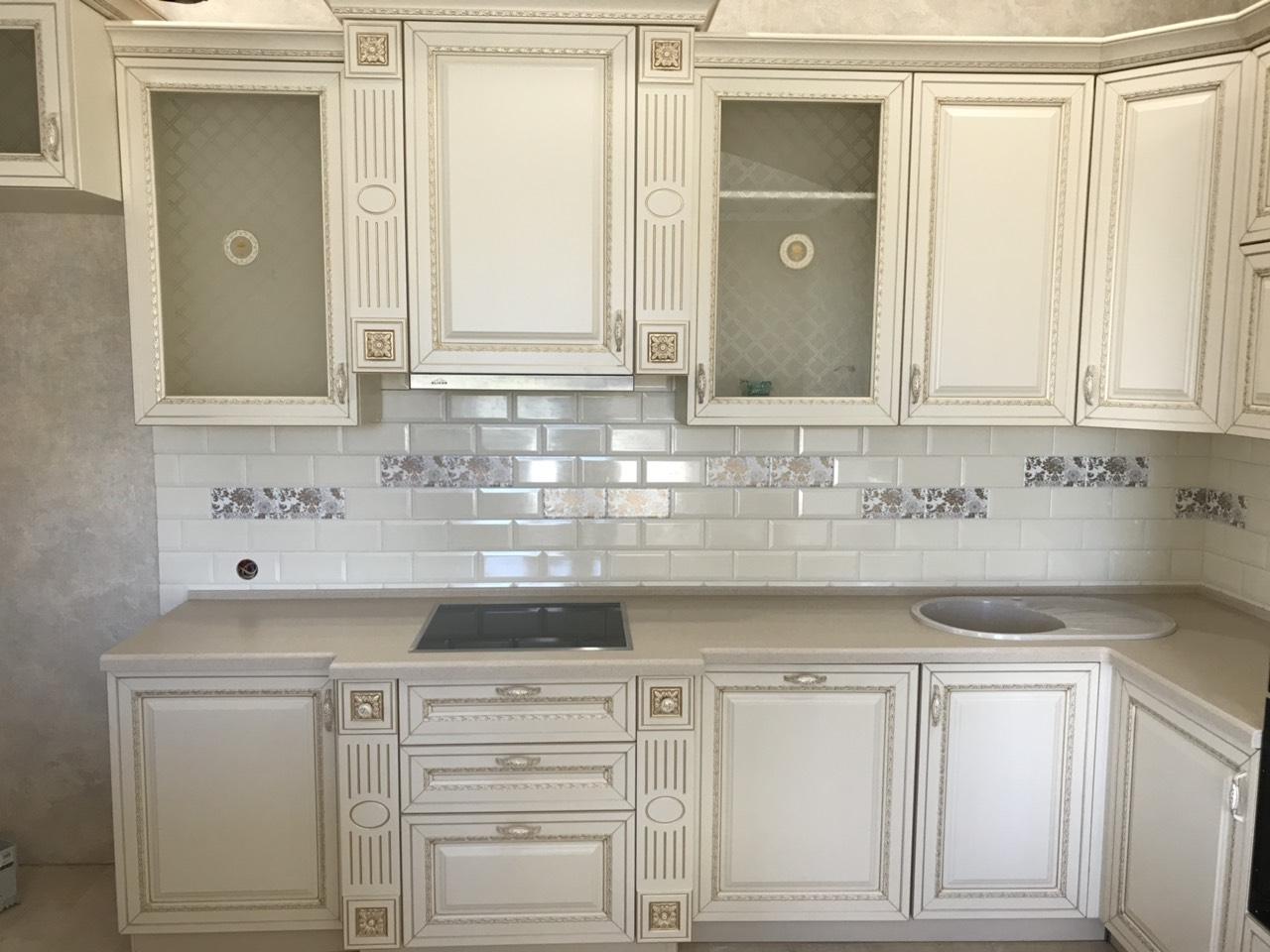 Белый кухонный гарнитур-Кухня МДФ в ПВХ «Модель 535»-фото4