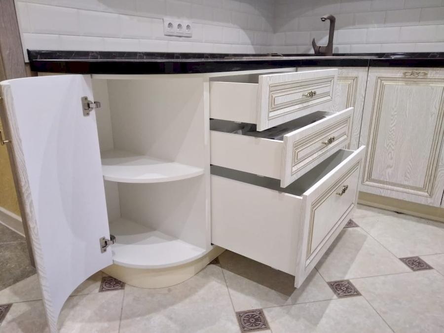 Белый кухонный гарнитур-Кухня из шпона «Модель 581»-фото8