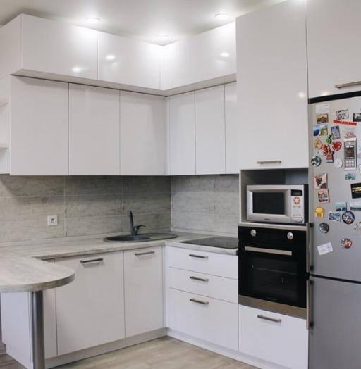 Белый кухонный гарнитур-Кухня из пластика «Модель 460»-фото2
